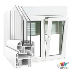 Ventana en PVC blanco con persiana y triple cristal