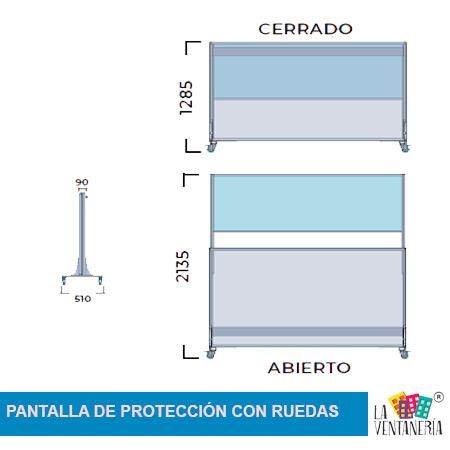 Medidas de la pantalla de protección con ruedas