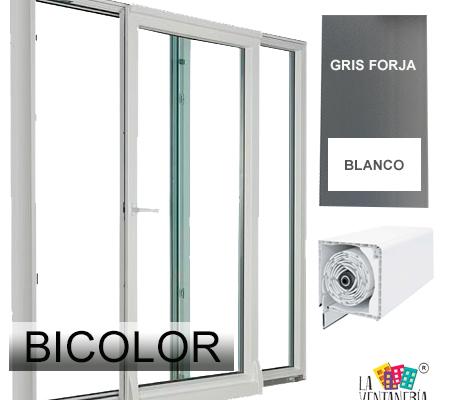 Puerta osciloparalela bicolor con persiana