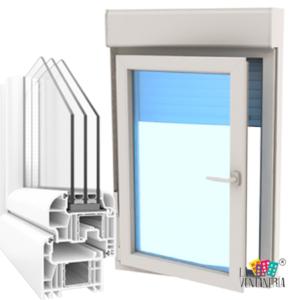 Ventanas de una hoja de PVC, persiana y triple vidrio