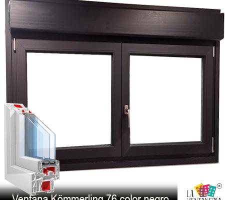 Ventana de PVC Kömmerling color negro